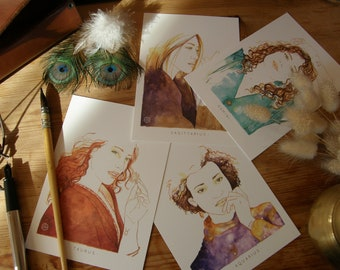 postcards illustrated astrological signs