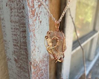 Tangerine Quartz + Copper Reiki-Blessed Necklace