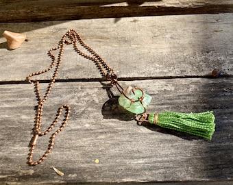 Green Calcite + Copper + Handmade Tassel Reiki-Blessed Necklace