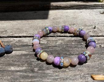 Crown Blue Rose Reiki-Blessed Bracelet: Sugilite, Blue Chalcedony, Madagascar Roze Quartz, Rhinestone Rhondelles