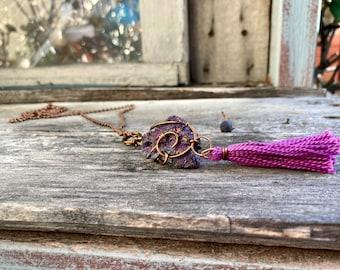 Chalcopyrite (Peacock Ore) + Copper + Handmade Tassel Reiki-Blessed Necklace