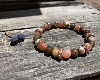 Red Wood Sun Reiki-Blessed Bracelet: Red Rutilated Quartz, Petrified Wood Opal, Sunstone, Rhinestone Rhondelles