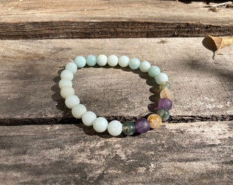Gentle and Supported Growth Bracelet: Amazonite, Flower Moss Agate, Amethyst, Rutilated Quartz