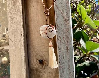 Moonstone + Copper + Handmade Tassel Reiki-Blessed Necklace