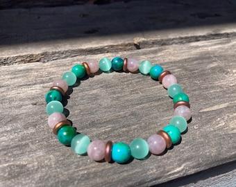 Sea Rose Reiki-Blessed Bracelet: Malachite, Madagascar Rose Quartz, Sea Foam Colored Glass, Czech Glass Rondels