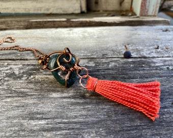 Moss Agate + Copper + Handmade Tassel Reiki-Blessed Necklace