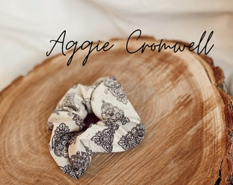 Aggie Cromwell Oversized Fall Scrunchie Fall hair accessory paisley scrunchies