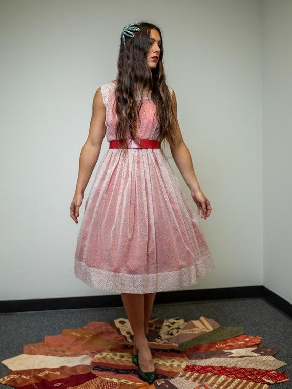 Vintage 1950's Sheer Organza Polkadot Dress