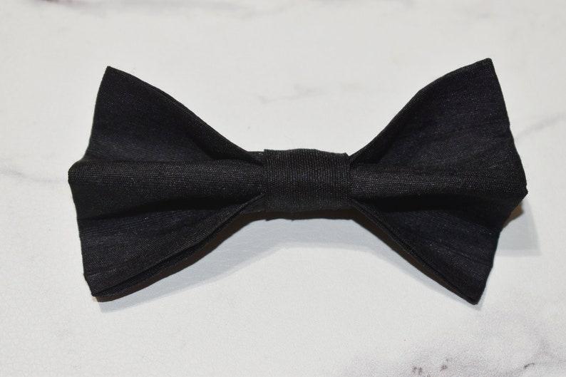 Indian Silk Pure Black Dupioni Silk Bow Tie Groomsmen Bow Tie Groomsmen Present Wedding Bow Tie Silk Accessories Prom Bow Tie