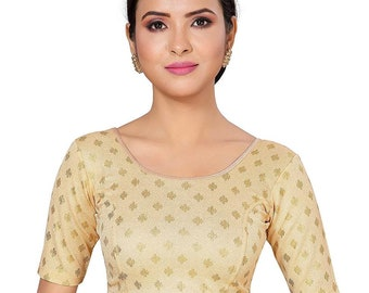 Light Purple Stretchable Lycra Round Neck Ready To Wear Saree Blouse With Short Sleeves Choli Top Tunic For Women Festive Wear Sari Blouse