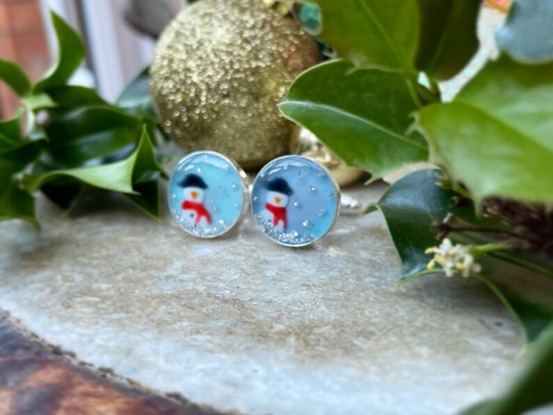 Gifts for Her Christmas Gift Idea BEAUTIFUL HANDMADE CUFFLINKS- Handmade Silver Glitter Blue Festive Groom Snowman Novelty