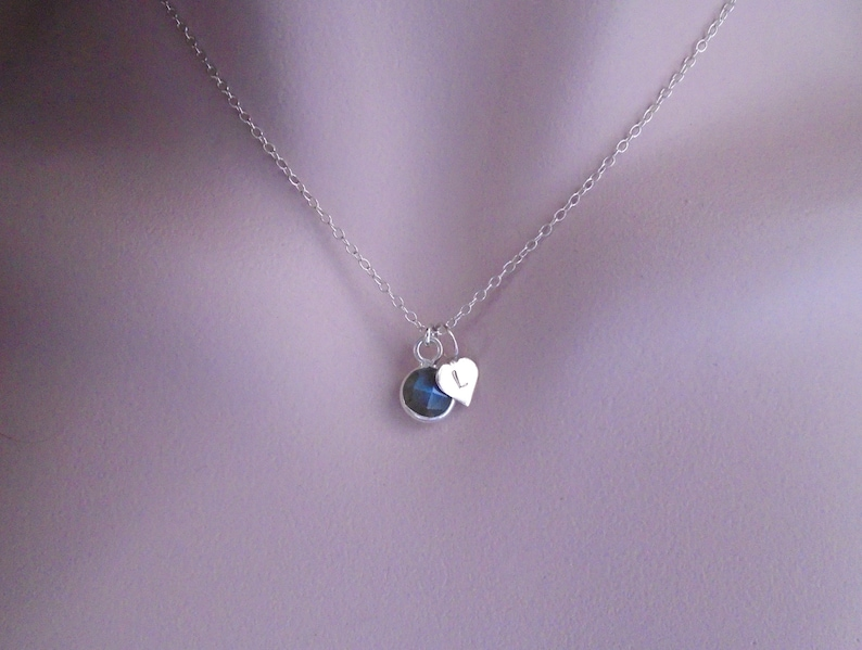 Gift for Her Sterling Silver 14K Gold Dainty Necklace Personalized Tiny Birthstone and Small Heart with Initial Necklace