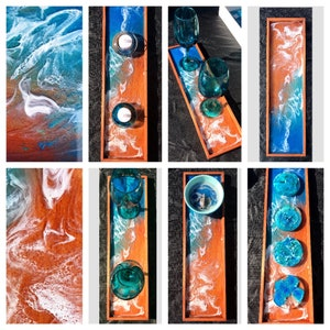 Swirl art decorative resin plate or suncatcher.
