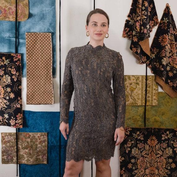 Galanos Lace Dress velvet chenille