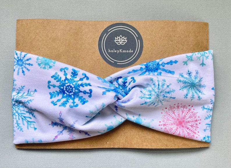 Watercolor Snowflake Top Knot Headband  Headbands with buttons  Turban  Headbands for Mask  Baby shower  Women Headbands