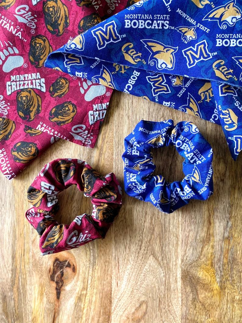 MSU Bobcats  U of M Grizzlies  Hair Ties  Hair Elastics  College Scrunchy  handmade gifts  haleyKmade  stocking stuffers