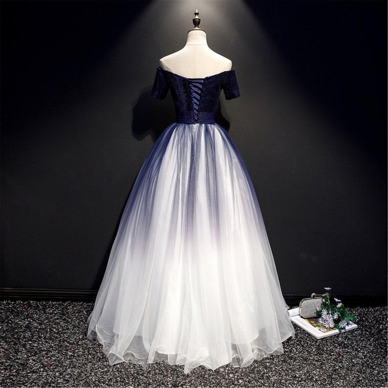 Dunkel blau Quinceanera Kleid Off-the-Shoulder Prom Kleid ...