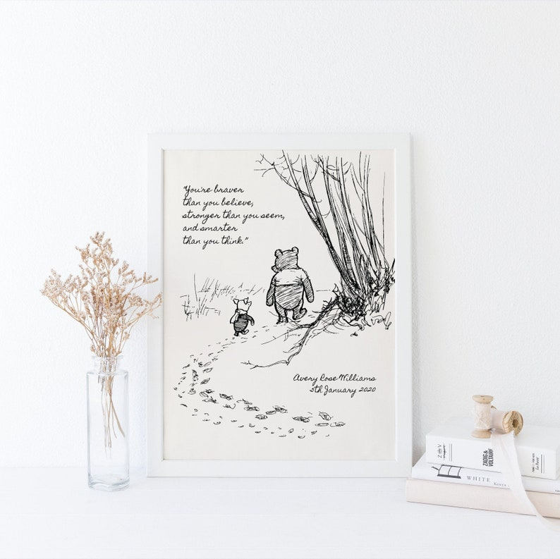 Winnie Pooh Quote Pooh Wall Art You Are Braver Than You image 0