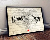 Luke Combs - Beautiful Crazy Lyrics Poster - Unframe Paper Poster - Music Poster - Music Decor-Wall Decor-Best Gifts Ever 24c1
