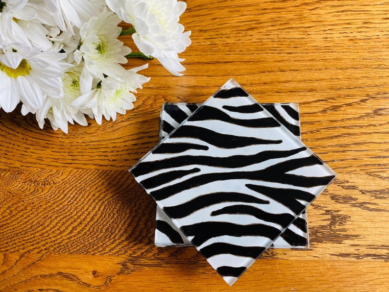 Square Glass Coasters With Hand Painted Zebra Print Design Etsy