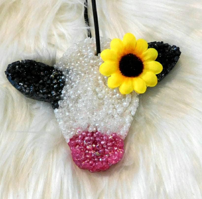 Cow Head Glitter Freshie car freshie aroma beads air
