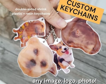 Custom Keychain - Double Sided Shrink Plastic Charm | Personalized Cute Gift | Any Artwork / Logo / Image / Drawing | Resin Charm