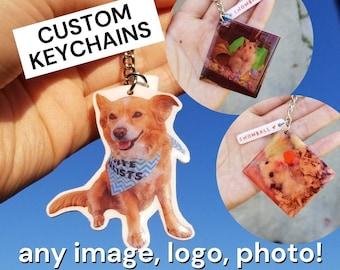 Custom Keychain   Personalized Gift   Any Image / Artwork / Logo / Drawing   Resin Keychain   Shrink Charm   Shrink Plastic Keychain   Pets