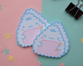 Gumchee Riceball Memo Pad | Blue Pink Die-Cut Triangle Rice Ball Memo | Reminder Notes | Cute Stationery Gift | Note paper | Onigiri