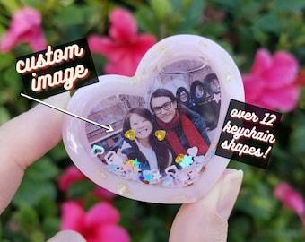 Custom Photo Resin Shaker Keychain   Over 10 Unique Shapes! Star, Heart, Polaroid, Moon, TV, Music Player, Square   Valentine's