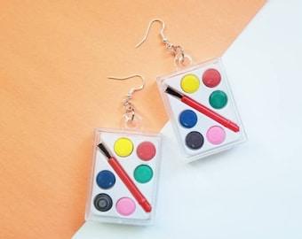 Kawaii Mini Paint Palette Hypoallergenic Earrings | Watercolor Functional Funky Jewelry | Sterling Silver