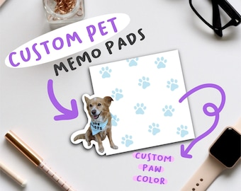 Custom Pet Memo Pads   Personalized Pet Notepads   Custom Image To-Do Stationery Notes   Great Gift for Pet Lovers   Dogs, Cats, Fish, &More