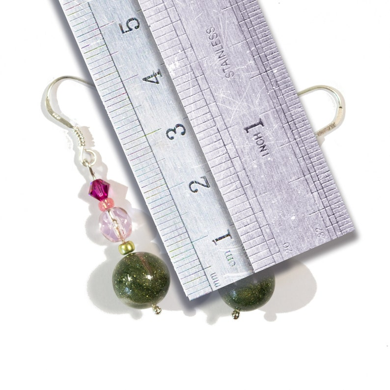 Dark Green Silver Primers 925 Pale Pink and Fuchsia earrings  The Fairy Garden worm. A
