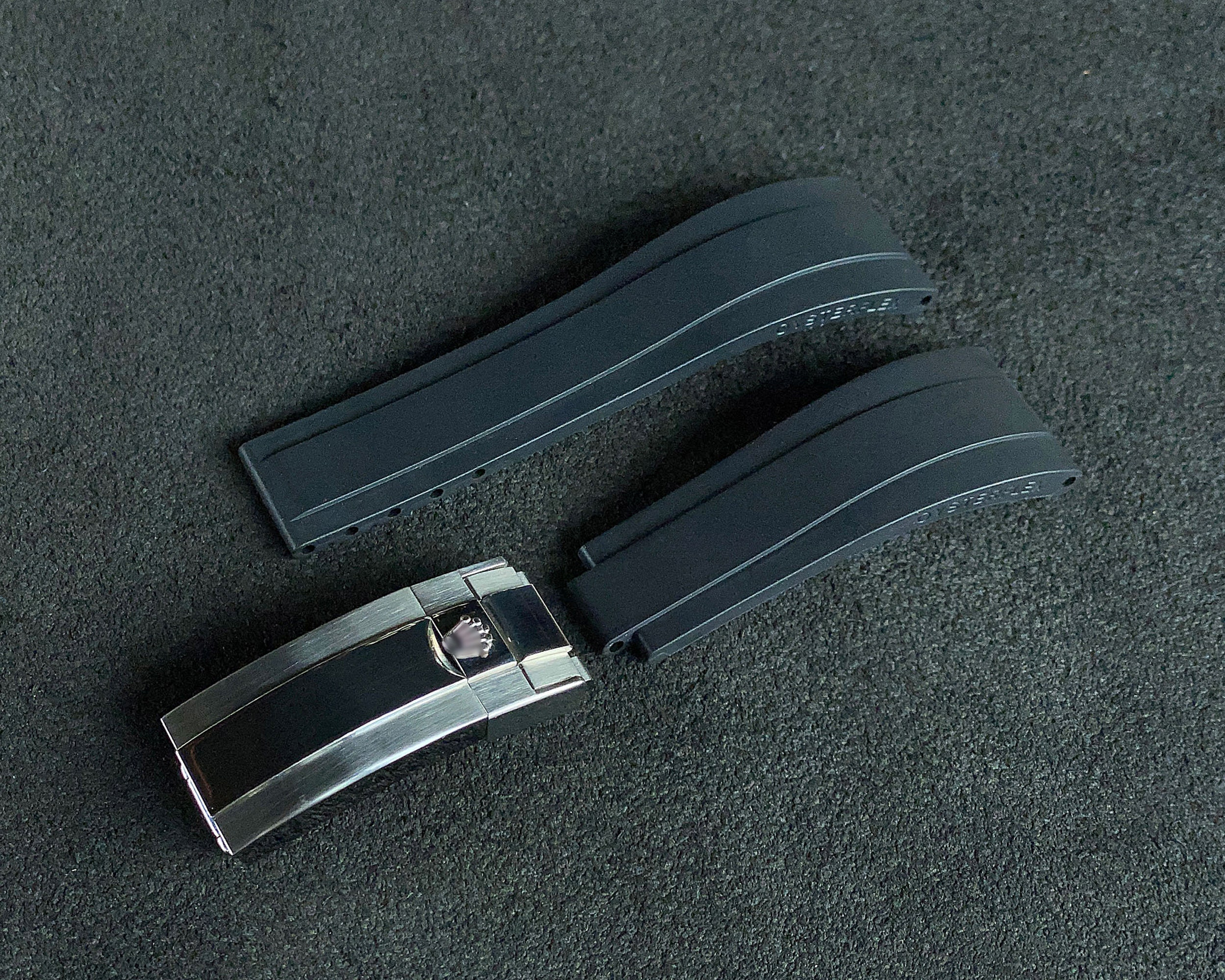 20mm Lug Width Oysterflex Style Replacement Rubber Watch Band Strap Color Black and Deployment Clasp For Daytona Submariner GMT Datejust