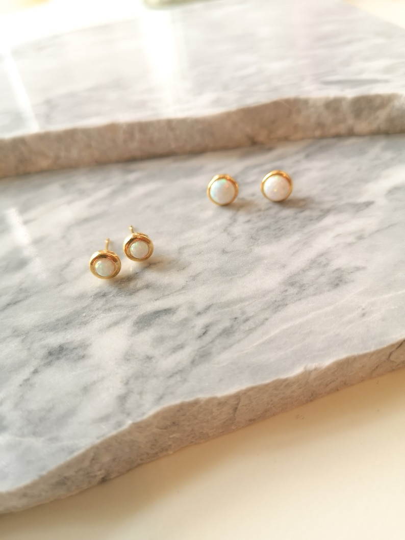 EUNOIA Birthday Opal Studs Package Wedding Earrings October Birthstone Gold Opal Stud Earrings Mother/'s Day Gift Present Gift for her