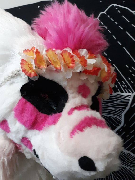 Fursuit Flower Crown  braided rope  fake flowers  prop accessory