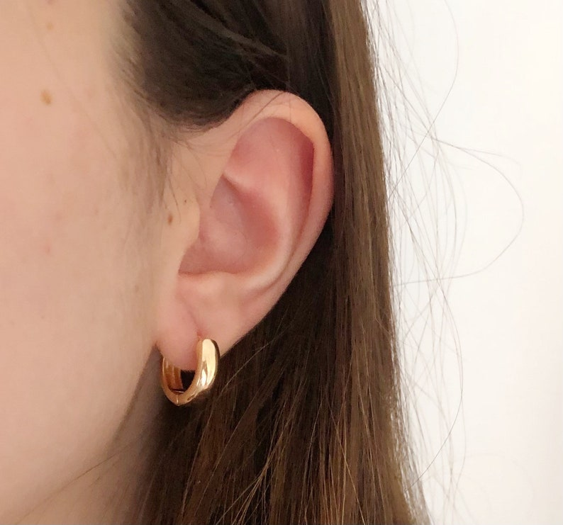 Minimalist Jewelry Basic Hoops Stacking Hoops Gifts For Her Chunky Gold Hoops Gold Plated Chunky Hoop Earrings
