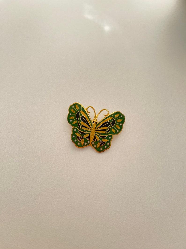 Green Cloisonn\u00e9 Butterfly BroachPin