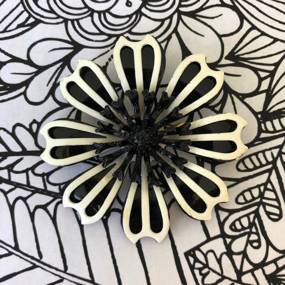 Large black White 1960's enamel flower brooch, flo