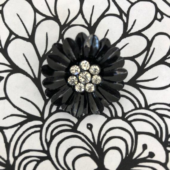 Stunning black 1960's enamel flower brooch, flower