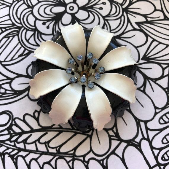 Stunning black White 1960's enamel flower brooch,
