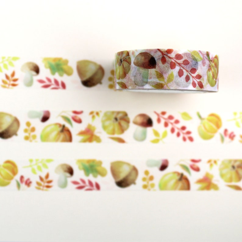 Leaves and Acorn Pattern Washi Tape with Autumnal Pumpkin