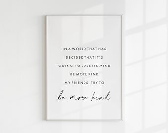 Frank Turner - Be More Kind (Music Print) Lyrics, Quote, Wall Art, Home Decor, Typography