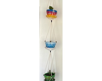 3 Tier Macrame Plant Hanger, twist knot, square knot, basic knot, choose your style