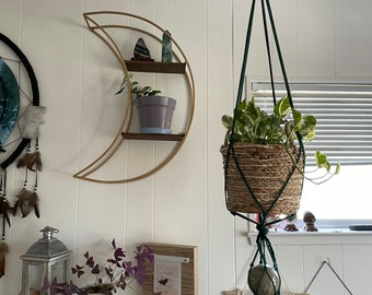 Macrame plant hanger with sphere holder, choose your style