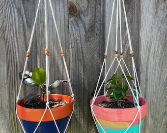 Basic macrame plant hanger with wood beads and color accent