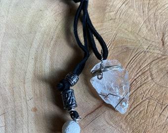 Wire Wrapped Quartz Arrowhead, Pendant, Adjustable Necklace