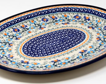 large serving plate for parties Blue and Red Ceramic Platter wall art or wedding gift