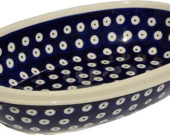 Oval Serving Bowl, Polish Pottery from Zaklady in Polka Dot Pattern