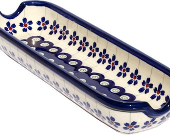 Corn-on-the-Cob Dish Polish Pottery from Zaklady in Floral Peacock Pattern