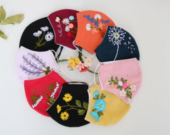 Hand Embroidered Face Mask with Nose Wire  Ribbon Embroidery 3 Layers Breathable   Stylish Womens Floral Face Mask for Summer  Face Mask USA